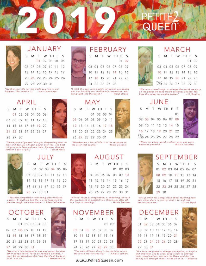 2019 Year-at-a-Glance Calendar